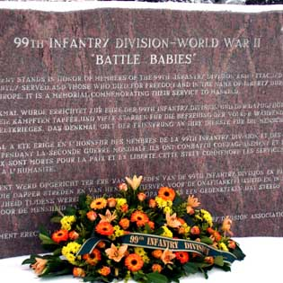 The history of the 99th Infantry Division is immortalized on this memorial which stands in a park in Krinkelt, Belgium. The Diggers have been diligent about placing a wreath each Dec. 16. The remaining funds from the association will be used for future maintenance and upkeep on the monument.